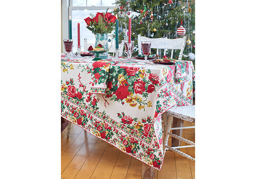 April Cornell Christmas Cottage Rose 60x90 Tablecloth