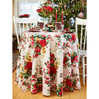 Christmas Cottage Rose Round Tablecloth