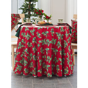 April Cornell Deck the Holly Round Tablecloth