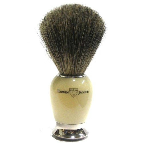 Edwin Jagger Edwin Jagger Pure Badger Nickel Plated Shaving Brush - Imitation Ivory
