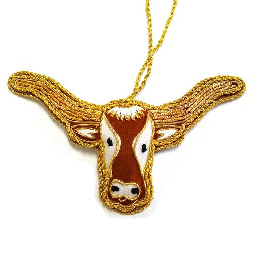 St. Nicolas St. Nicolas Texas Longhorn Head Ornament