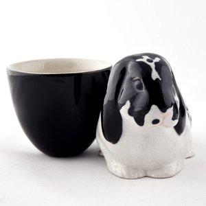 Quail Ceramics Quail Lop Eared Rabbit Egg Cup (Black & White)