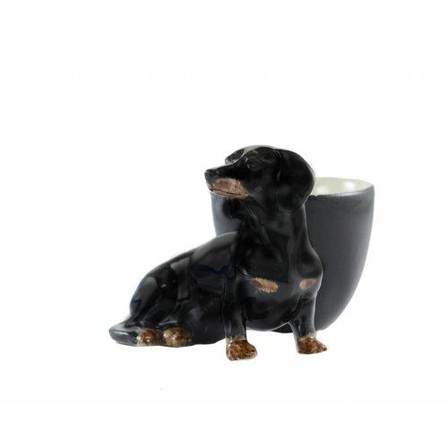 Quail Ceramics Quail Dachshund with Egg Cup (Black & Tan)