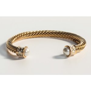 Halcyon Days Maya Cream and Gold Torque Bangle