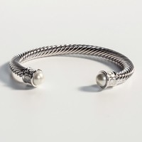 Maya Ivory and Palladium Torque Bangle