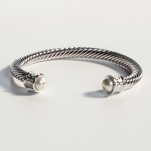 Halcyon Days Maya Ivory and Palladium Torque Bangle