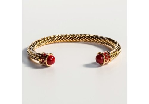 Halcyon Days Maya Red and Gold Torque Bangle