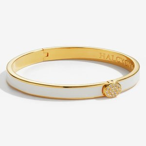 Halcyon Days Skinny Plain Pave Button - Cream and Gold