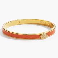 Skinny Plain Pave Button Bangle - Orange and Gold
