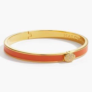 Halcyon Days Skinny Plain Pave Button Bangle - Orange and Gold