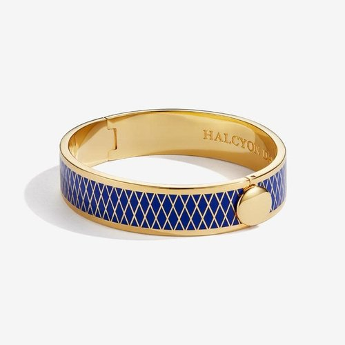 Halcyon Days Parterre Deep Cobalt and Gold Bangle