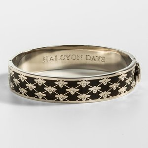 Halcyon Days Bee Sparkle Trellis Black and Palladium Bangle