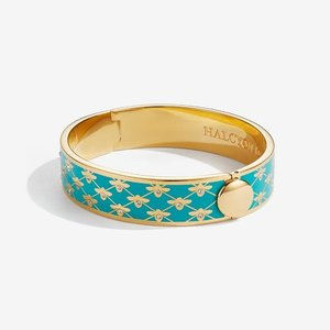 Halcyon Days Bee Sparkle Trellis Turquoise and Gold Bangle