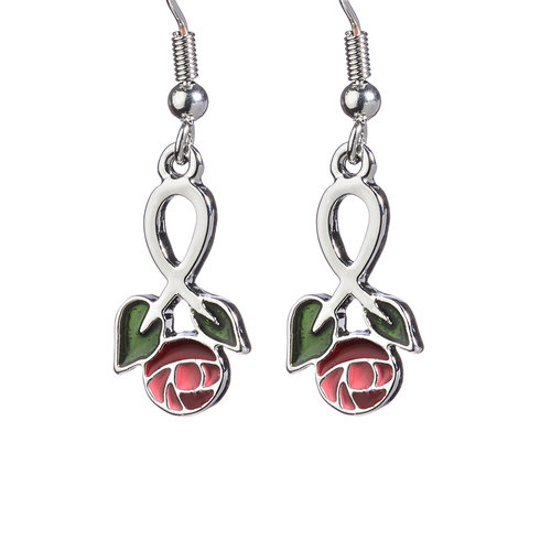 Large Enamel Rose Earrings - Mackintosh