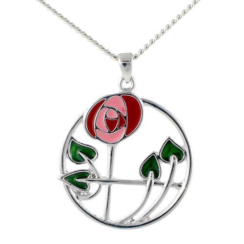 Mackintosh Rose in Circle Pendant