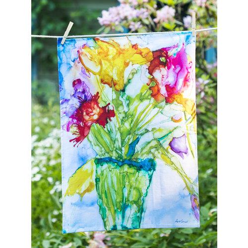 April Cornell Mosaic Bouquet tea towel