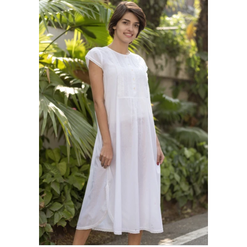 Cambric White Celeste Nighty