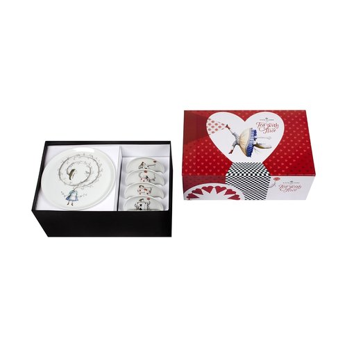 Tea with Alice Footed Cake Plate Gift Box Set