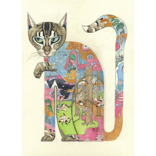 A010 Watercolor Cat Licking Paw Card