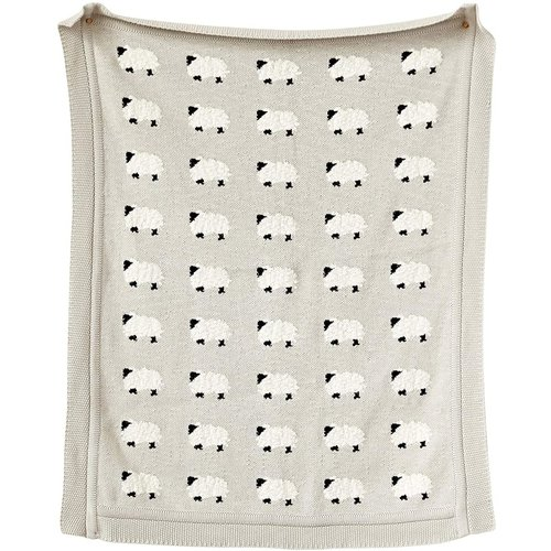 Cotton Knit Blanket w Sheep, Grey
