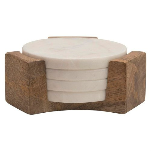 Round white marble coasters w/ Mango wood case