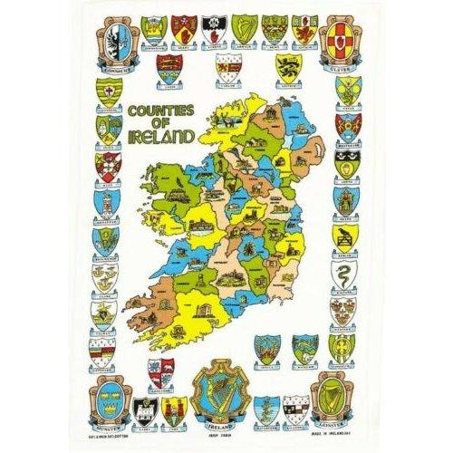 Counties of Ireland tea towel