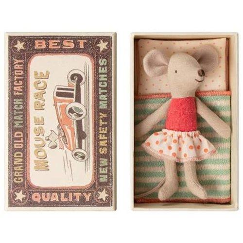 Maileg Maileg Little Sister Mouse in Box - Polka Dot Skirt
