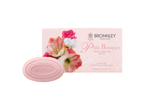 Bronnley Pink Bouquet Luxury English Soap Set of 3
