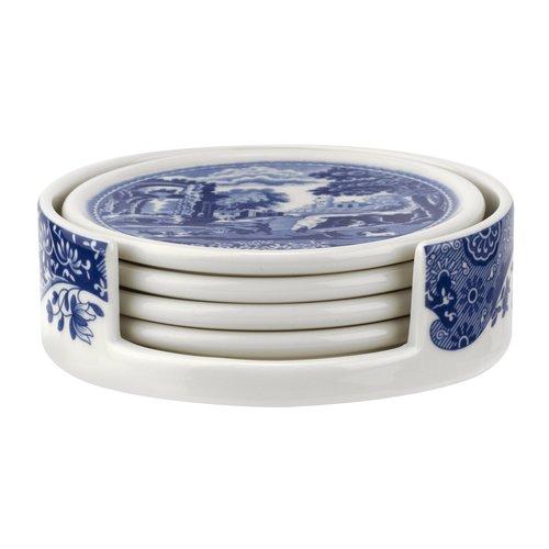 Spode Blue Italian Round Coaster Set