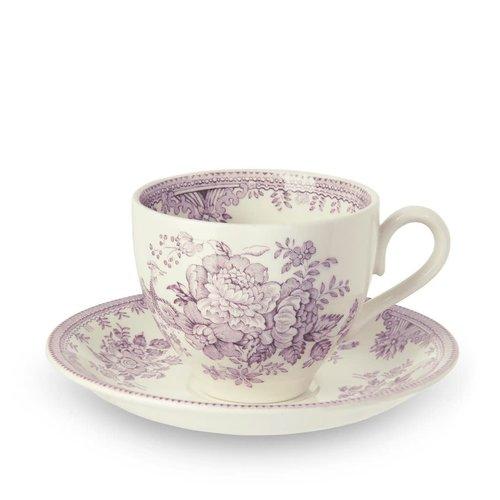 Burleigh Pottery Asiatic Pheasants Plum Teacup and Saucer