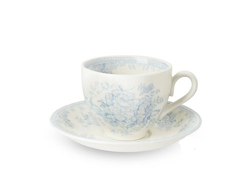 Burleigh Pottery Asiatic Pheasants Blue Teacup and Saucer