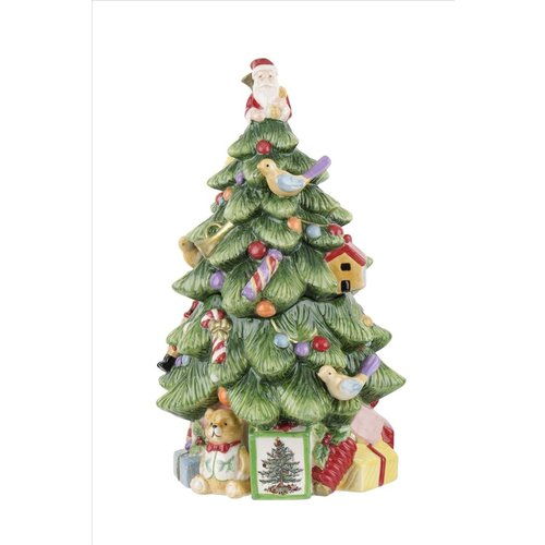 Spode Christmas Tree Shaped Cookie Jar