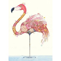 Flamingo with Flowers Card
