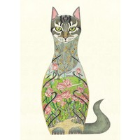 Cat in a Rose Garden Card