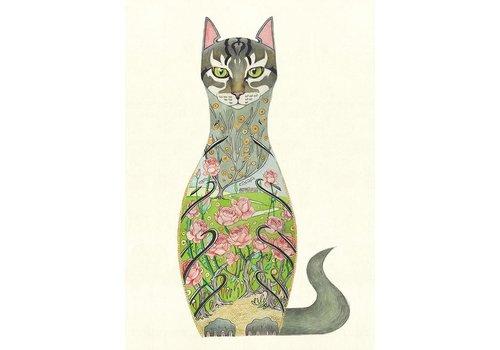 Cat in a Rose Garden Card