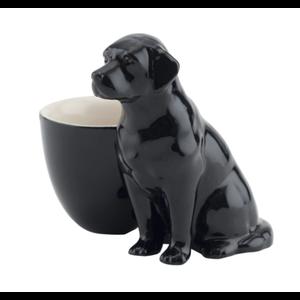 Quail Ceramics Quail Black Lab with Egg Cup