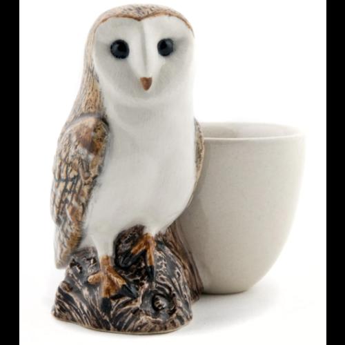 Quail Ceramics Quail Barn Owl with Egg Cup