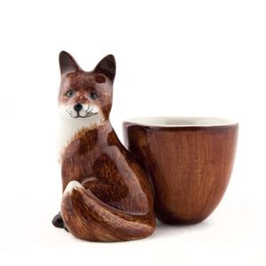 Quail Ceramics Quail Fox with Egg Cup