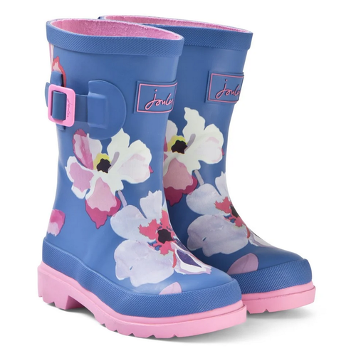 Joules USA Blue Floral Print Junior Welly