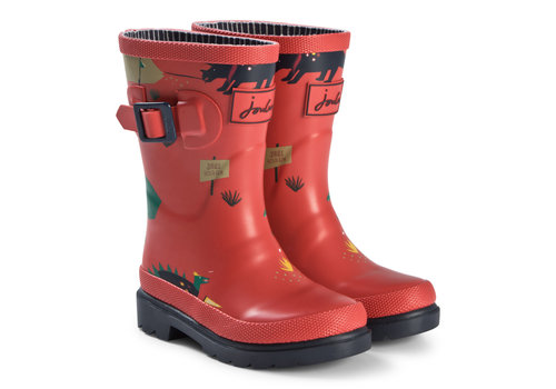 Joules USA Red Dino Print Junior Welly