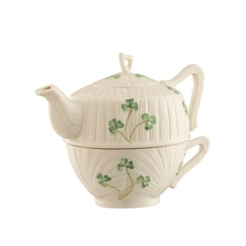 Belleek Harp Shamrock Tea for One