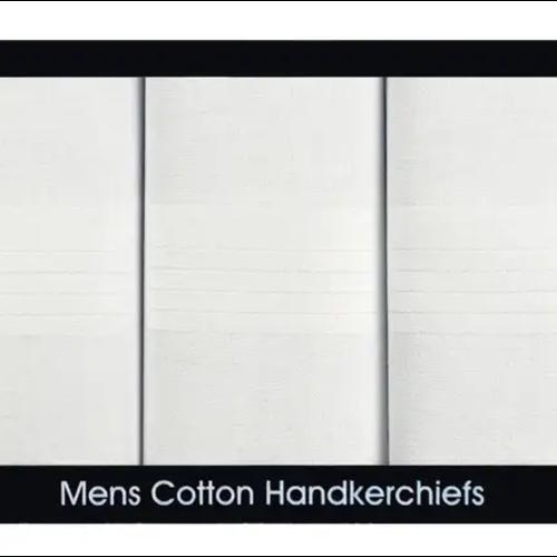McCaw Allan Samuel Lamont Men's 3 White Satin Border Handkerchiefs