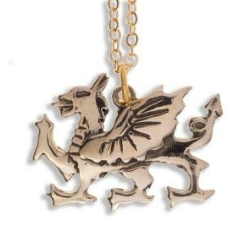 St Justin Welsh Dragon gold necklace