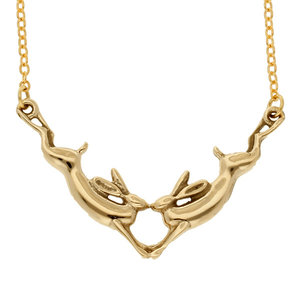 St Justin Kissing Hares Necklace (Gold)
