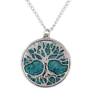 St Justin Green Glitter Enamel Tree of Life Necklace