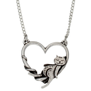 St Justin Lounging Cat in Heart Necklace