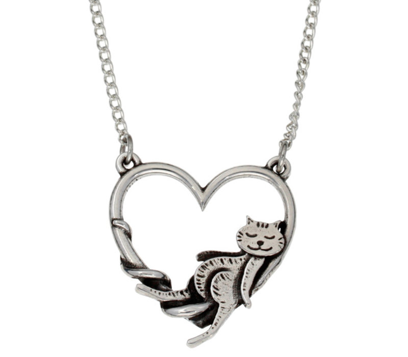 Lounging Cat in Heart Necklace