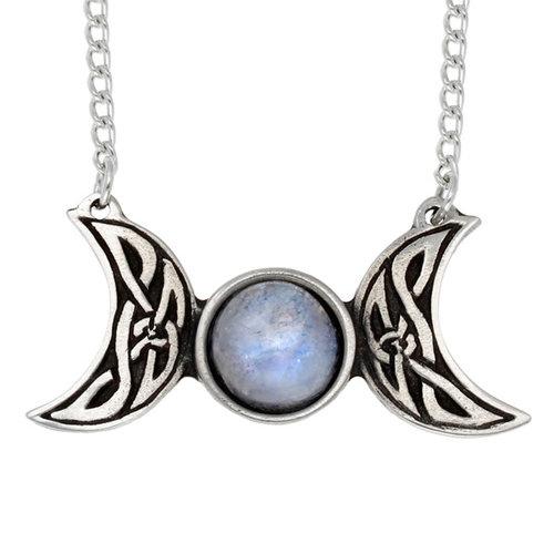 St Justin Celtic Triple Moon Necklace