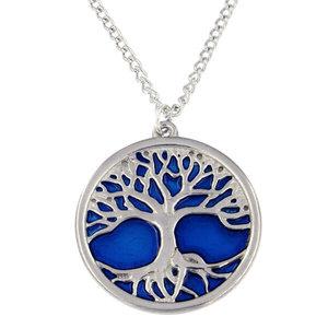 St Justin Blue Enamel Tree of Life pendant necklace