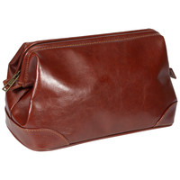 Men's Classic Brown Leather Toiletry Bag